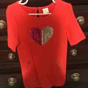 Gymboree Red Dress With Sequin Heart, Size S